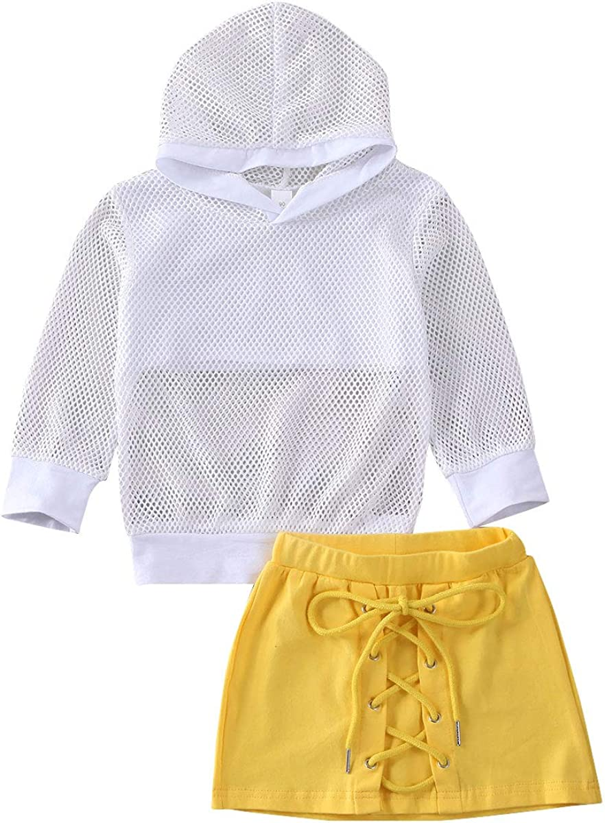 Little Girl Skirts Set Long-Sleeve Max 65% OFF T-Shirt Hooded Tops Ranking integrated 1st place Sk Mesh +