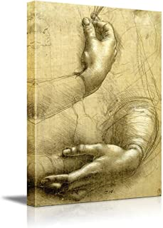 wall26 - Study of Arms and Hands by Leonardo Da Vinci - Canvas Print Wall Art Famous Oil Painting Reproduction - 16