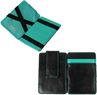 Y&G YCM010302 Black Turquoise Leather Magic Wallet with Card Holders Infinity For Groomsmen With Gift Box