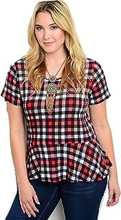 Women Peplum Top Plaid Multi Color Short Sleeves Scoop Neck