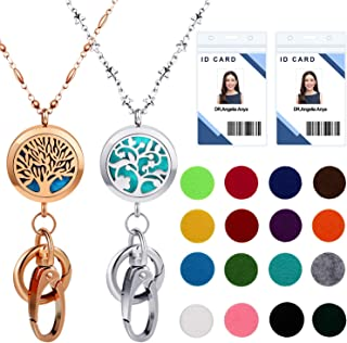 2 Pieces Lanyard Necklace Stainless Steel Beaded Chain Lanyard Necklace with ID Badge Holder and Key Chains Non Breakaway Pendant for Women, Silver and Rose Gold