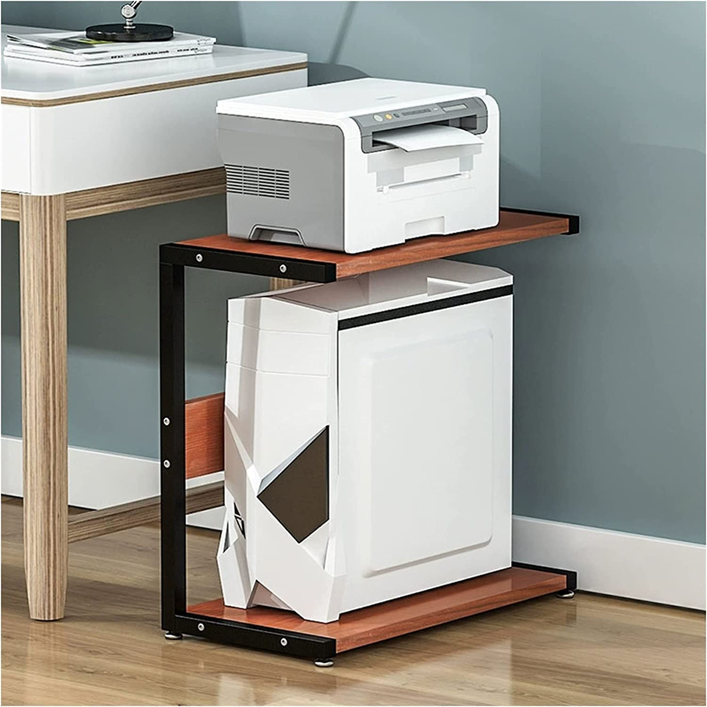 JKXWX CPU Stand,2-Tier Desktop Floor Stand,PC Holder Tower Holder Floor Stand,Printer Storage Rack Desk Side Frame,Four Models Colors (Color : Black+Brown, Size : Large)