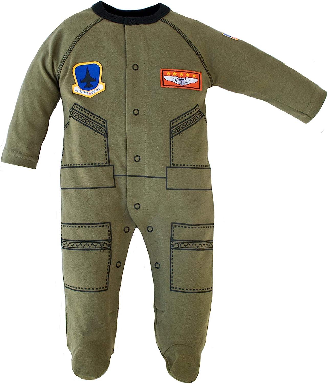 Baby Aviator Flight Suit Long Sleeve Sleeper 0-12 Mo Olive W Black Trim (3-6 mo)