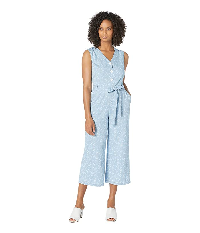 Vince Camuto  Sleeveless White Floral Denim Belted Jumpsuit (Indigo) Womens Jumpsuit and Rompers One Piece
