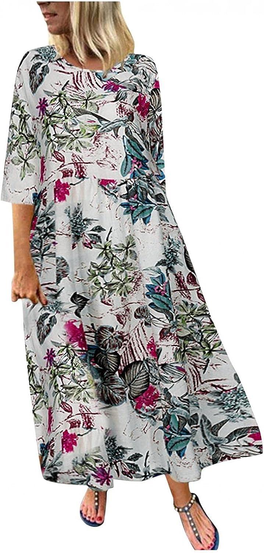 AorizizrH Maxi Dress for Women 3/4 Sleeve Floral Printed Dress Retro Holiday Bohemian Loose Long Dresses