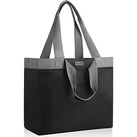 CHICECO Extra Große Shopper Handtasche für Damen Gross Arbeitstasche Reisetasche Wasserdicht (XXL, Schwarz Grau(mit 2 Steckfächern))