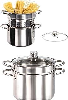 Juego de 3 cazuelas de acero inoxidable de inducción para espaguetis con colador (olla para espárragos, 6 L, tapa de cristal, colador para pasta de plata)
