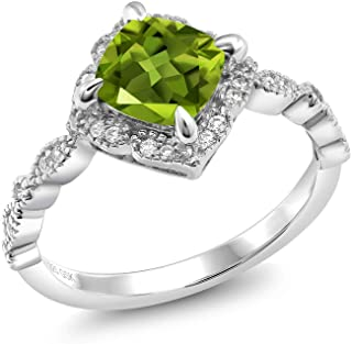 Gem Stone King 925 Sterling Silver Green Peridot Women's Solitaire Engagement Ring (2.04 Ct Cushion Cut, Gemstone Birthsto...