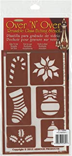 Armour Products Over N Over Glass Etching Stencil, 5-Inch by 8-Inch, Christmas