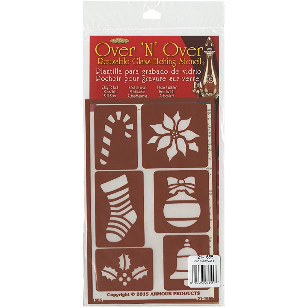 Armour Products Over N Over Glass Etching Stencil, 5-Inch by 8-Inch, Christmas gb9276060