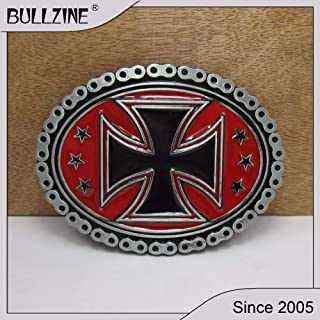 Buckes - Wholesale Biker Cross Belt Buckle with Pewter Finish and red Enamel FP-02056 for 4cm Width on Belt