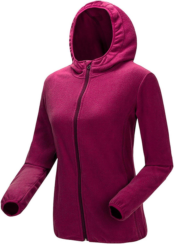 Chartou Women's Classic Full Zip Hooded Polar Fleece Outdoor Hoodies Jacket Outwear