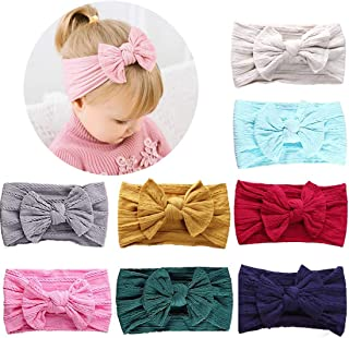 HOME-MART 8 Pack Baby Girl Nylon Bow Headbands Elastic Head Band Hairbands Newborn Soft Head Wraps Turban Knot Hair Hoops ...