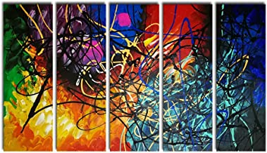 Wieco Art - Modern 5 Panel 100% Hand Painted Stretched and Framed Colorful Abstract Heart Oil Paintings Artwork on Canvas ...