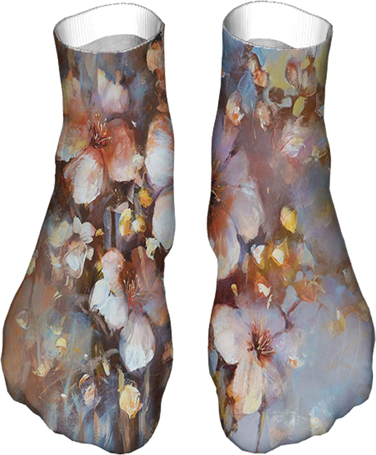 Women's Colorful Patterned Unisex Low Cut/No Show Socks,Hand Drawn Oil Style Painting with Blossoming Cherries