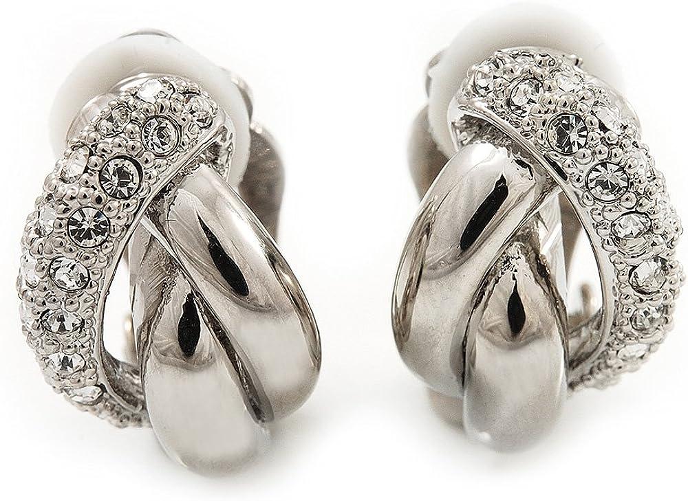 Rhodium Plated Diamante 'Braided' Clip On Earrings - 15mm Length
