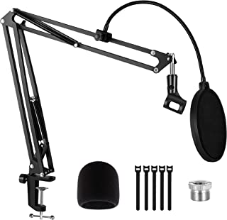 """Puroma Microphone Arm Stand Adjustable Suspension Boom Scissor Arm Stand with 3/8"""" to 5/8"""" Adapter Pop Filter Mic Clip Hol..."""