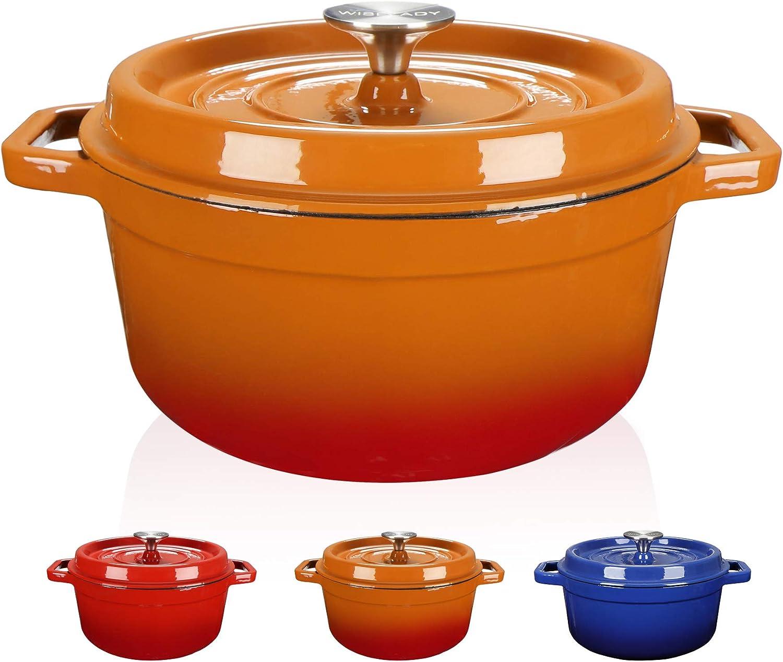 WISELADY Enameled Cast Iron Dutch Oven Bread Baking Pot with Lid (2QT, Orange)