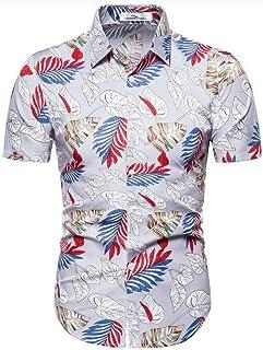 Abeaicoc Men Loose Fit Button Beach Print Casual Up Casual Short Sleeve Shirt