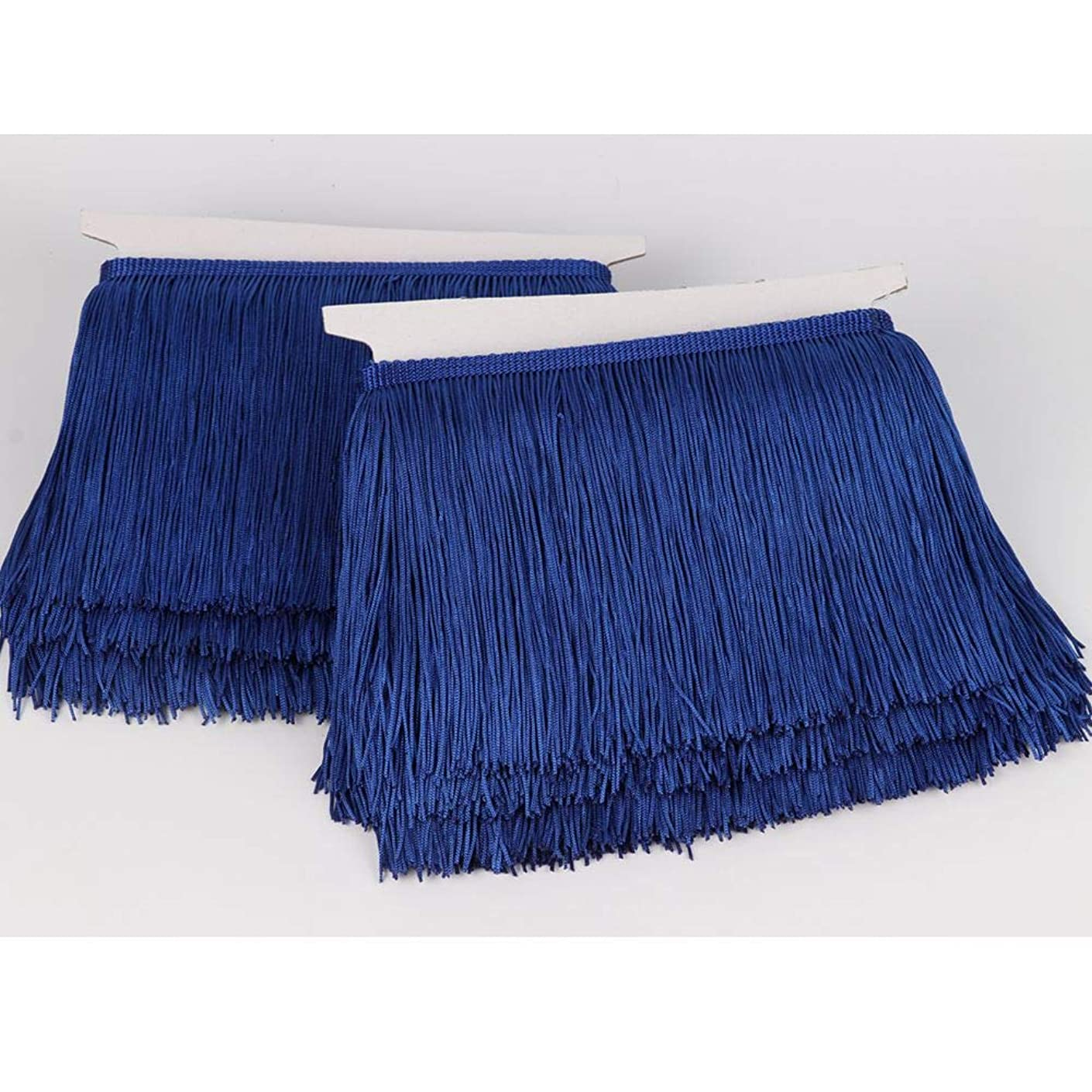 Heartwish268 Fringe Trim Lace Polyerter Fibre Tassel 6inch Wide 10 Yards Long for Clothes Accessories Latin Wedding Dress DIY Lamp Shade Decoration Black White Red(Royal Blue)