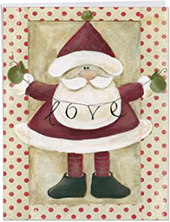 Artistic 'Santa Banners' Merry Christmas Greeting Card Gift - Big Size 8.5 x 11 Inch With Big Envelope - Santa Claus Holding Inspirational Holiday Love Banner 'Santa Banners' J6659BXSG
