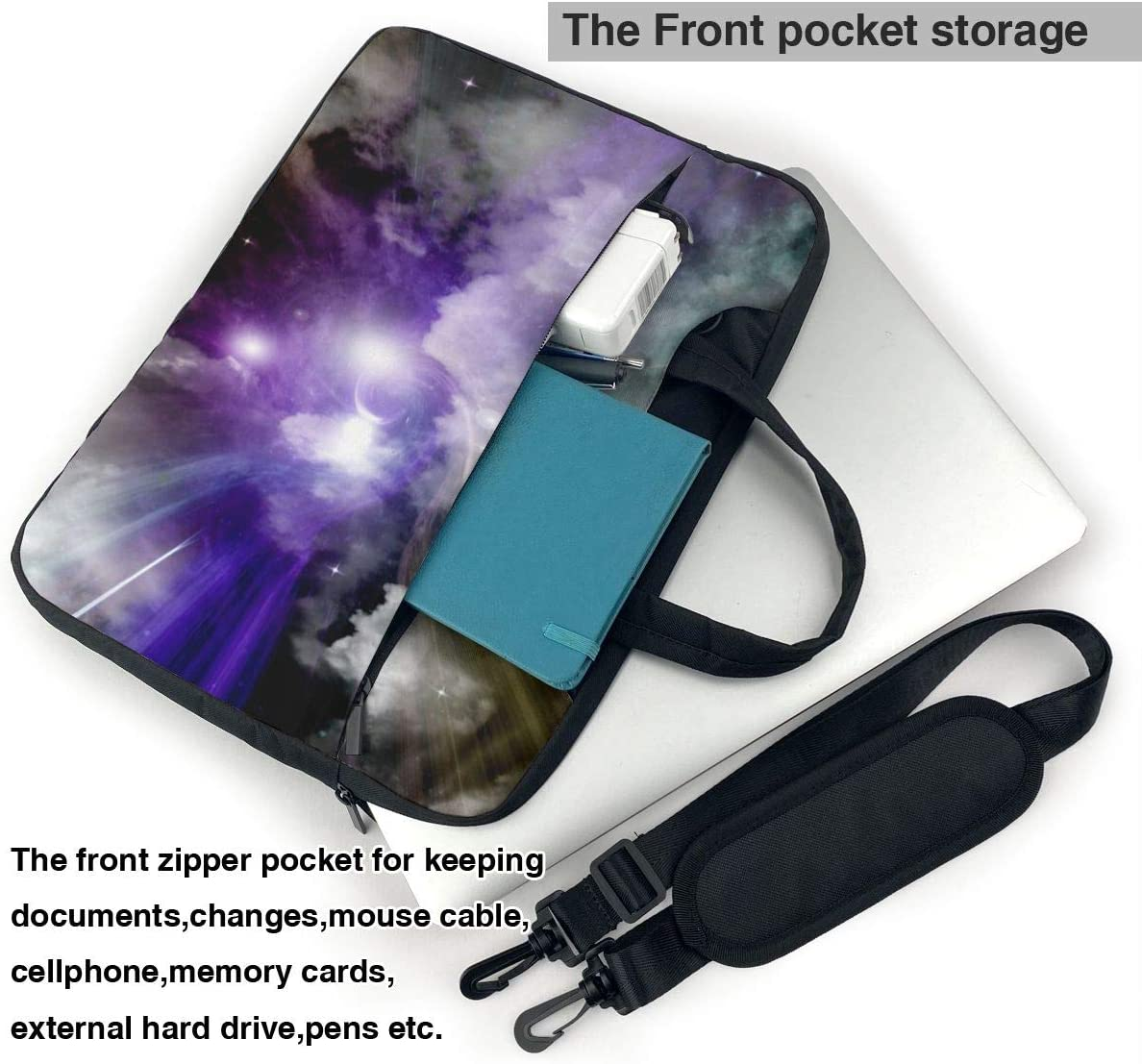Planet and Blue Galaxy Laptop Case 14 Inch Carrying Case with Strap