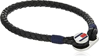 TOMMY HILFIGER MENS BLACK LEATHER FLAG BRACELET - 2790205S