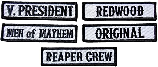 Officer Title Rank Vest Patches VP MC Biker Club Patch Set (5pc-Iron On)