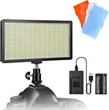 ENEGON LED Video Light Panel Bi-Color 416 LED Beads  with 4000mAh Rechargeable Battery  Charger  Tripod Hot Shoe 4 Color Filters for Canon Panasonic Nikon DSLR Cameras Camcorder  CRI95 3200K-5600K