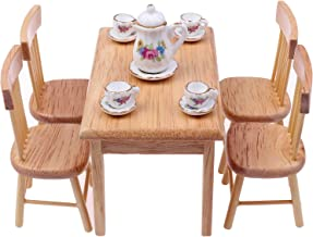 1:12 Dollhouse Miniature Furniture Wooden Dining Table with 6 Chair Model S BRPJ