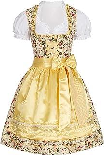 Seventyseven Lifestyle Damen Trachten Dirndl Kleid mit Schürze & Bluse gelb Weiss