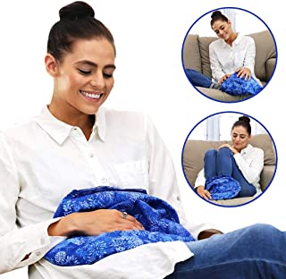 Hot Pockets - Warm A Bed - Extra Large Microwave Heat Pack & Freezer Cold Pack - Washable, Portable, Cordless - Hot and Cold Therapy Packs - Microwavable Body Relaxation Heating Pad (Blue Flowers)