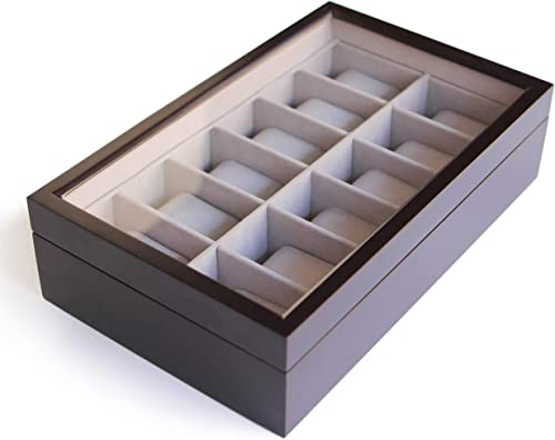 Solid Espresso Wood Watch Box Organizer with Glass Display Top 12 Slot by Case Elegance