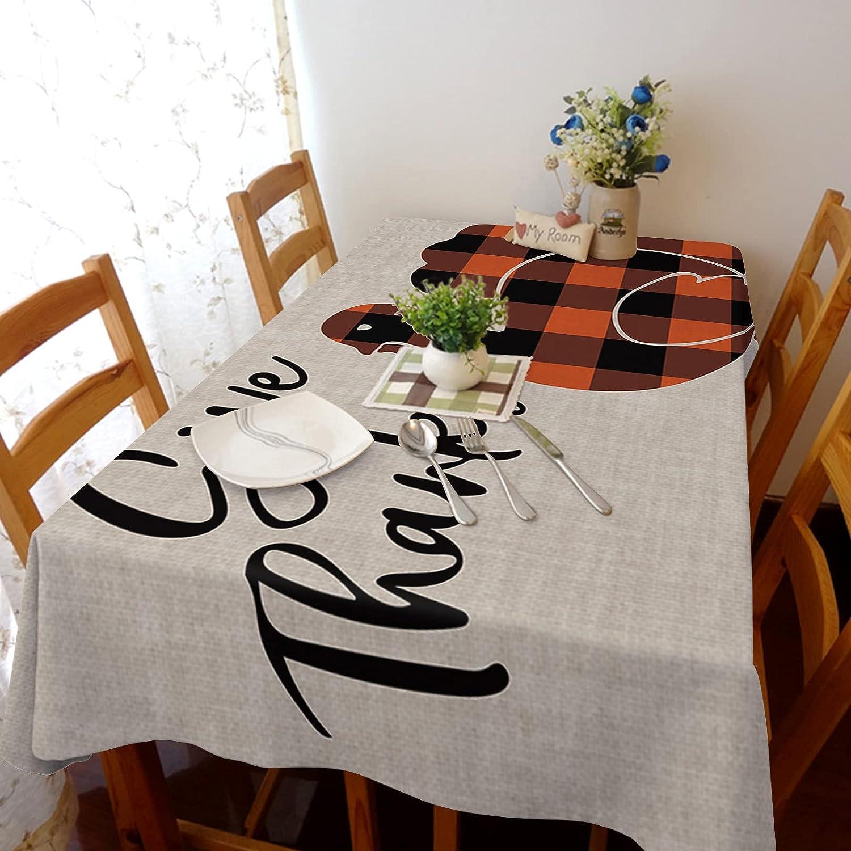 Rectangle Tablecloth Regular dealer Ranking TOP11 Fall Thanksgiving Black Buffalo Turkey Red