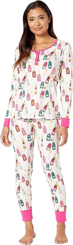 Long Sleeve Henley Pajama Set
