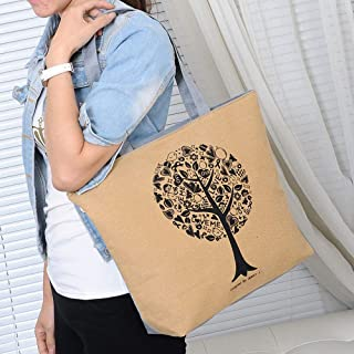 Wultia - 2019 Fashion Folding Women Big Size Handbag Tote Ladies Casual Flower Printing Canvas Graffiti Shoulder Bag Beach Bolsa Feminina Beige