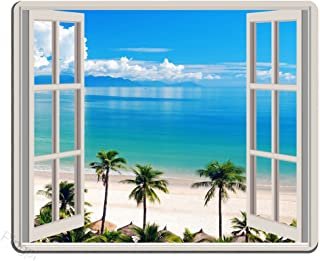 Pingpi Mouse Pad Palm Trees Tropical Island Beach Nature Paradise Panoramic Picture Through Wooden Windows Scene Custom Design, 9.5 X 7.9 Inch (240mmX200mmX3mm)