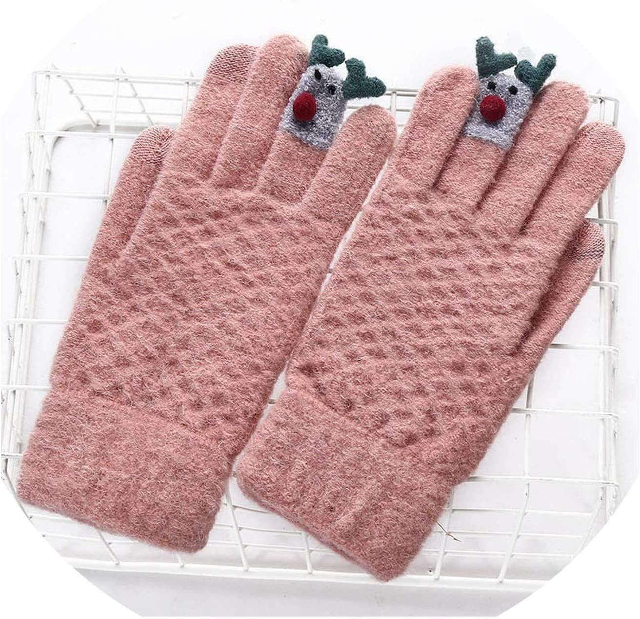 Samantha Warm Gloves Ladies Winter Warm Cute Cartoon Finger Knit Touch Screen Gloves Women Full Finger Soft Mittens Black Gloves (Color : F Pink, Size : Oneszie)
