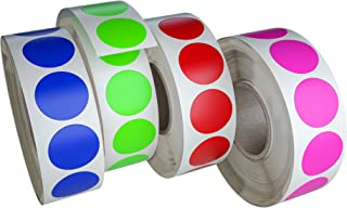Royal Green Circle Dots Stickers Label Rolls in 4 Assorted Colors - Round Colored Label Sticker for Inventory Labeling 19mm - 4200 Pack