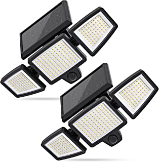 Solar Lights Outdoor, 210 LED 2500LM Solar Flood Security Lights with Motion Sensor Wireless 25FT IP65 Waterproof 3 Heads ...
