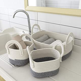 LA JOLIE MUSE Storage Basket Set of 3, Cotton Rope Basket of Organizing for Home Storage, Soft Woven Organizer Bins with H...