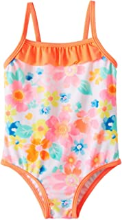 Infant Girls Neon Colorful Floral Ruffle One Piece Swimming Bathing Suit