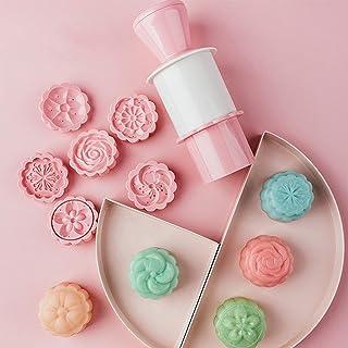 MoonCake Mould Press, runt bakverk mould kakor mould kaka form, 3D månkaka form kakskärare, kakskärare med 6 blommor mönst...