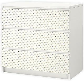 nikima 003 - Adhesivo para muebles de IKEA MALM diseño de ancla 3 cajones color rosa y verde