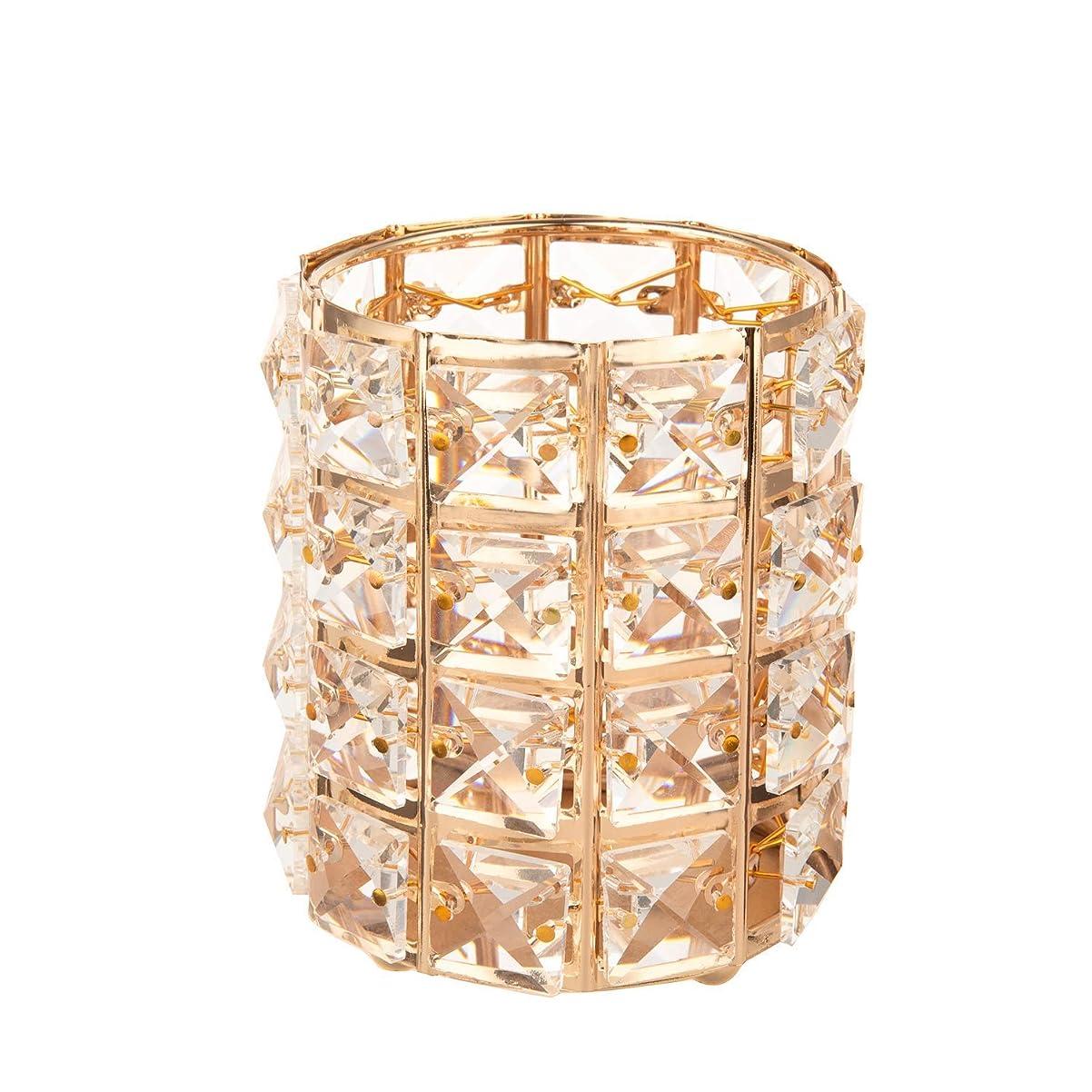 Feyarl メイクブラシケース ブラシスタンド クリスタルブラシホルダー 化粧ブラシホルダー 円筒型 ペン立て ゴールド