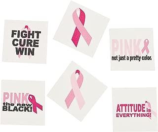 Fun Express - Pink Ribbon Sassy Glitter Tattoos - Apparel Accessories - Temporary Tattoos - Glitter Tattoos - 72 Pieces
