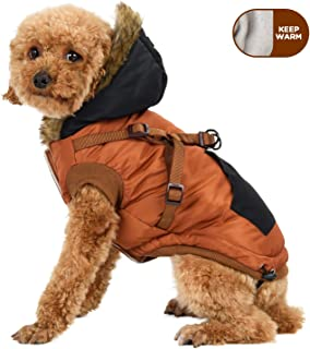 senye Adorable Hoodie Harness Winter Warm Dogs Jacket,Two Layers Windproof Patchwork Pet Clothes for Small Medium Dogs