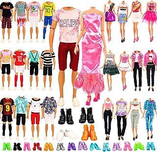 مجموعة ملابس عشوائية من 21 قطعة للدمى الاولاد والبنات بطول 11.5 انش تتضمن 6 اطقم للدمية الولد + 3 ازياء للبنت +3 تنانير عص...
