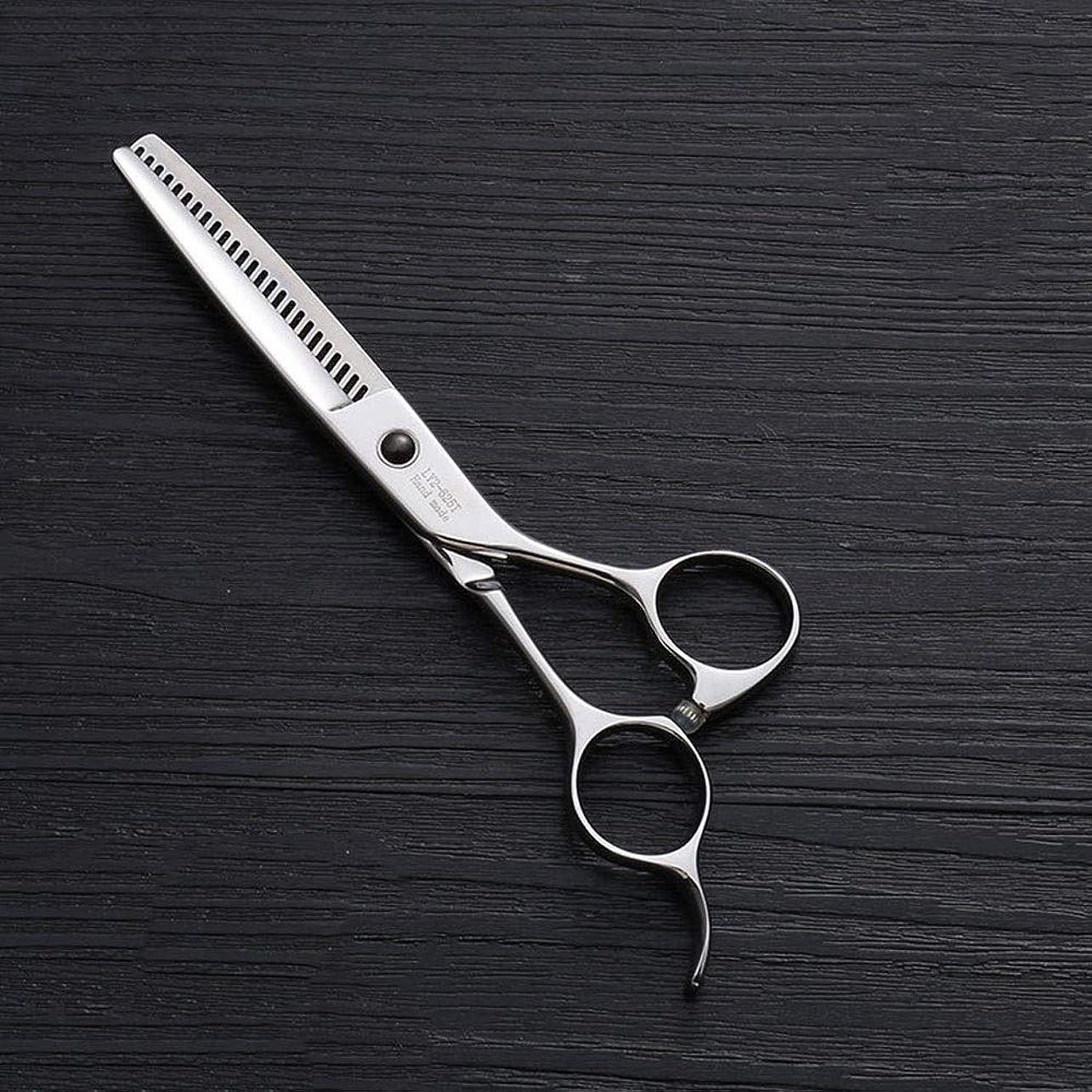 戸惑う慣らす衝動440Cステンレス鋼ハイエンドヘアカットツール、25歯T型6インチ美容院プロフェッショナル理髪はさみ モデリングツール (色 : Silver)