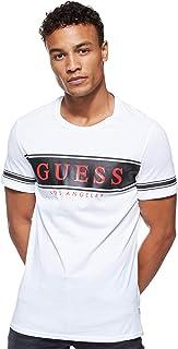 GUESS Men's Crew Neck Small Sleeve Banner T-Shirt